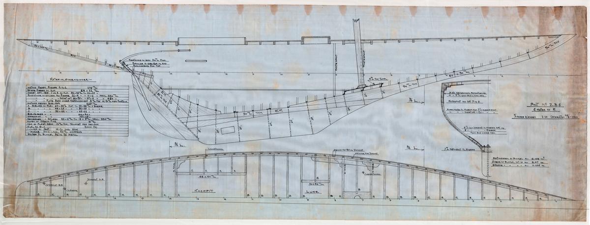 Konstruksjonstegning av 6meter R båt 'Jo'. Skala 1:10