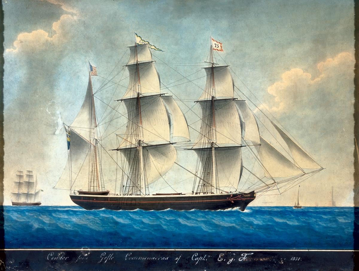 Akvarell föreställande barkskeppet Condor, målad av Honoré Pellegrin, Marseille 1851. Condor kom till Gävles handelsflotta 1850.