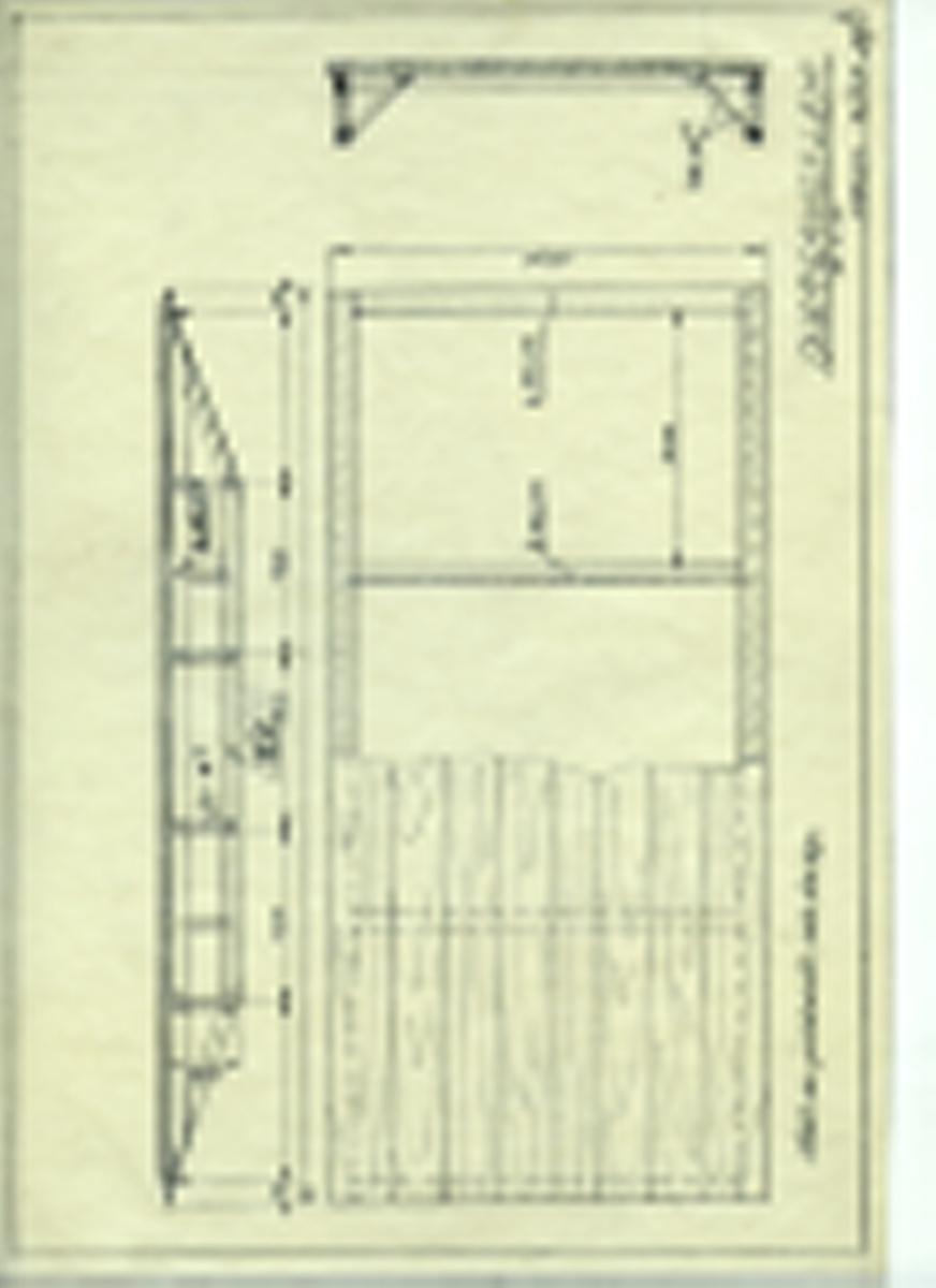 Håndtegnet arbeidstegning til overgangslem, utarbeidet ved Krossen i 1950.