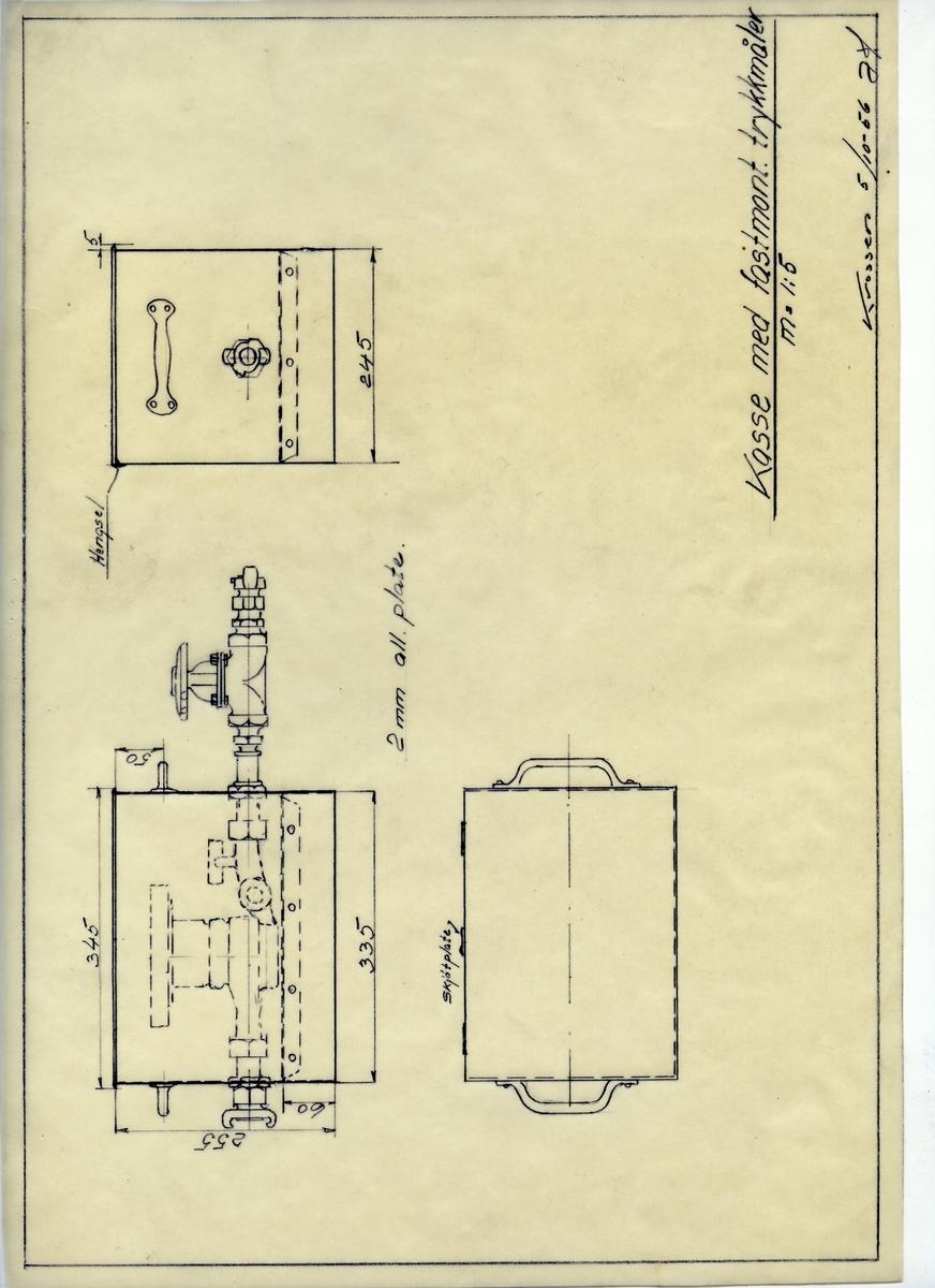 Håndtegnet arbeidstegning kasse for fastmontert trykkmåler. Utarbeidet ved Krossen i 1956.