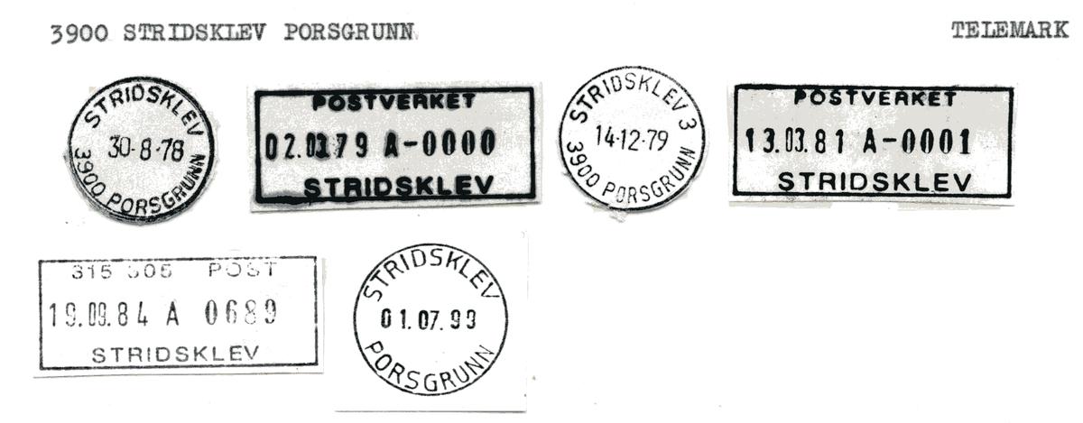 Stempelkatalog  3900 Stridsklev, Porsgrunn kommune, Telemark
