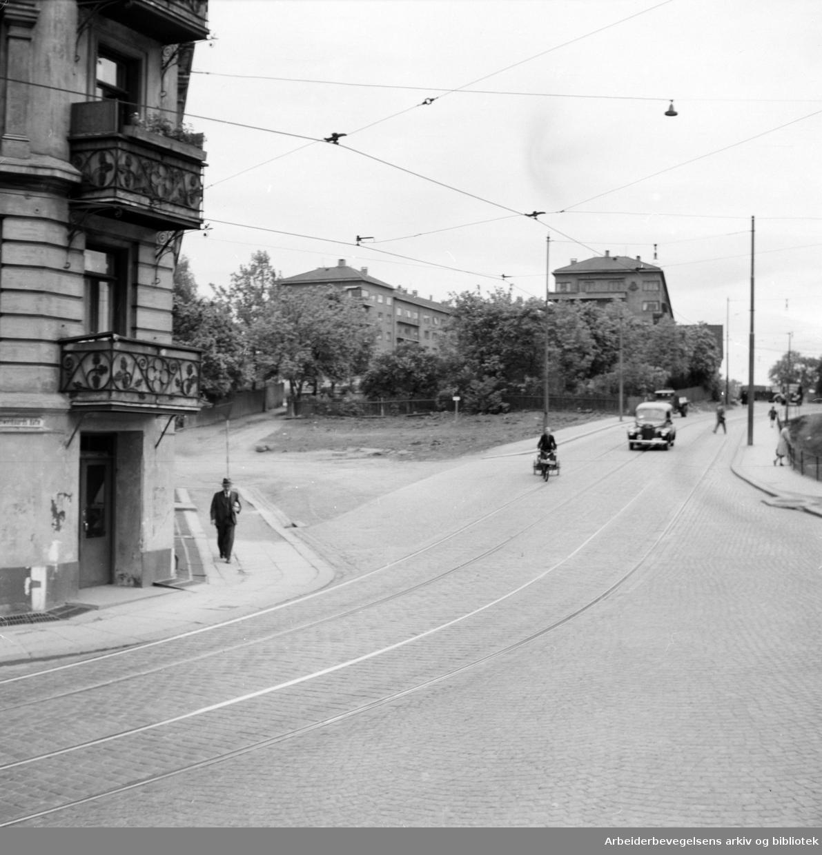 Vålerenga. Strøket opp mot Galgeberg. Mai 1948