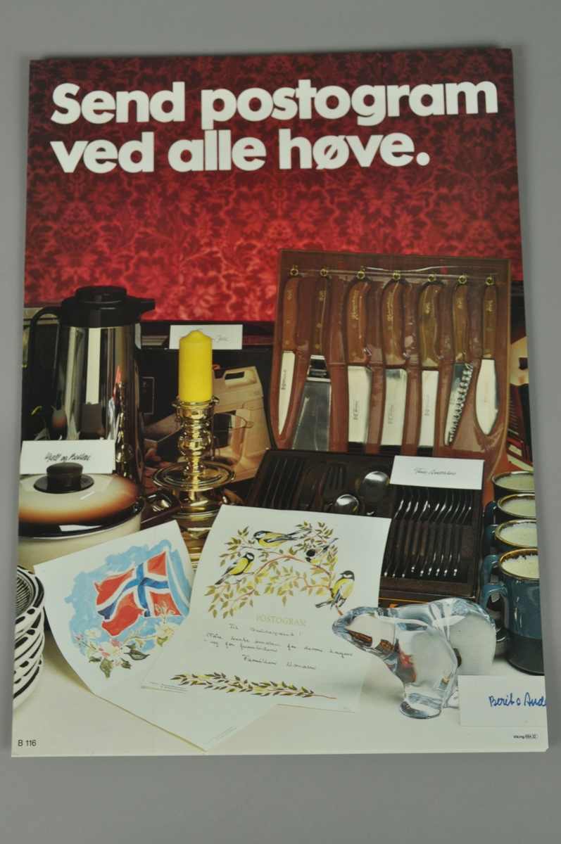 Salgsplakat for Postogram. Bokmål og nynorsk.