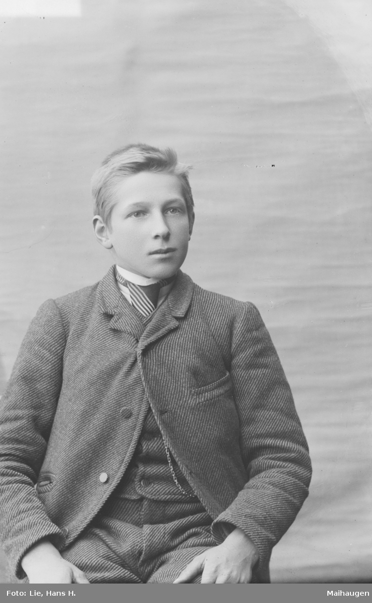 Portrett av sittende ung mann. Halvor Kalstad.