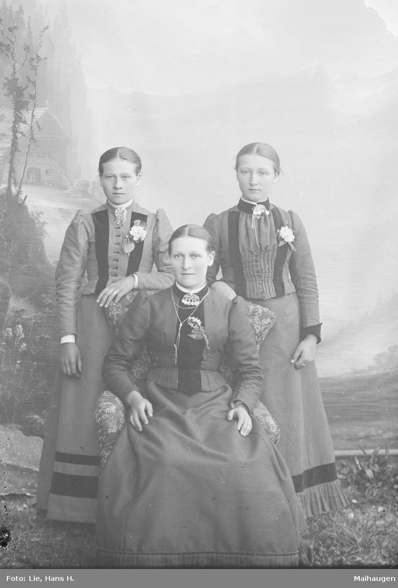 Tre kvinner hvor to står bak ei som sitter i stol. Nevnt som Birgit K. Heen med søstre.