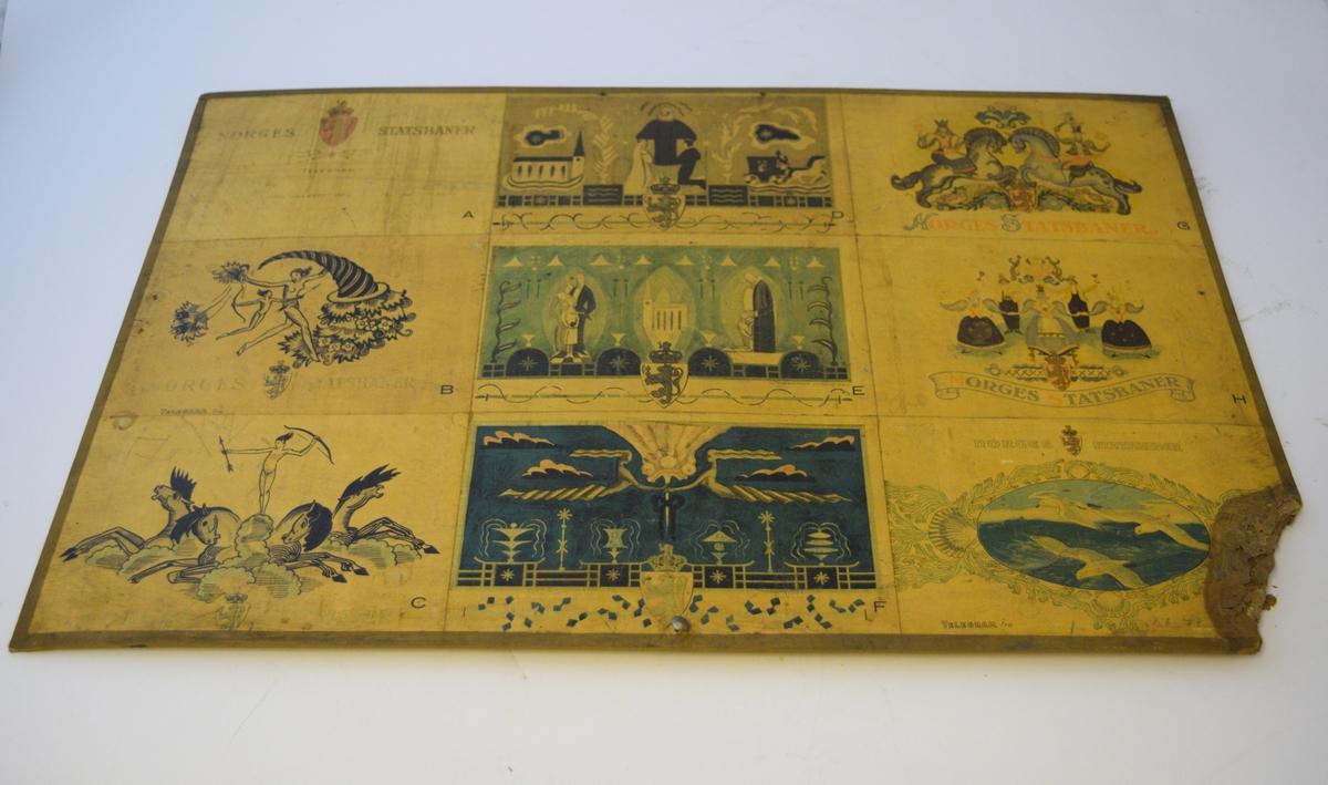 Plansje med ulike telegrammer med forskjellige motiv. 6 ulike motiv av ulik art, men alle enten med norsk løve, eller Norges statsbaner skrevet på.