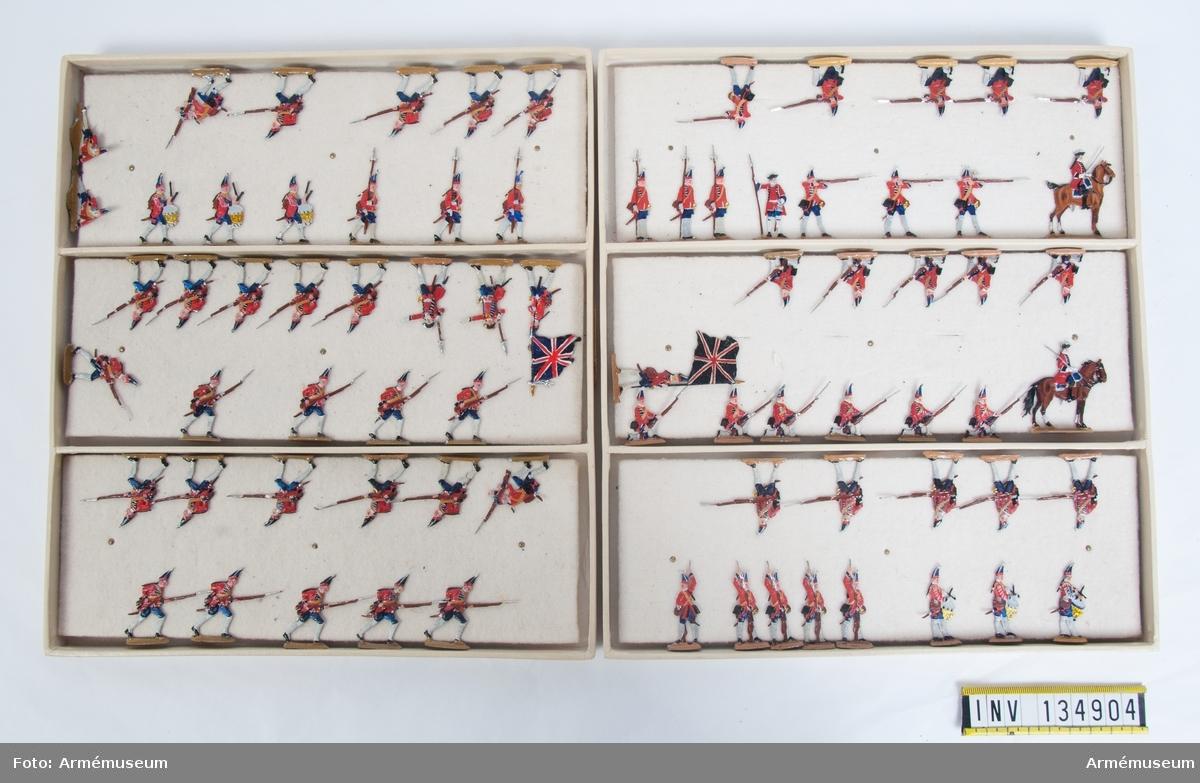 Infanteri från England från sjuåriga kriget. Två lådor med grenadjärer i strid. Fabriksmålade.