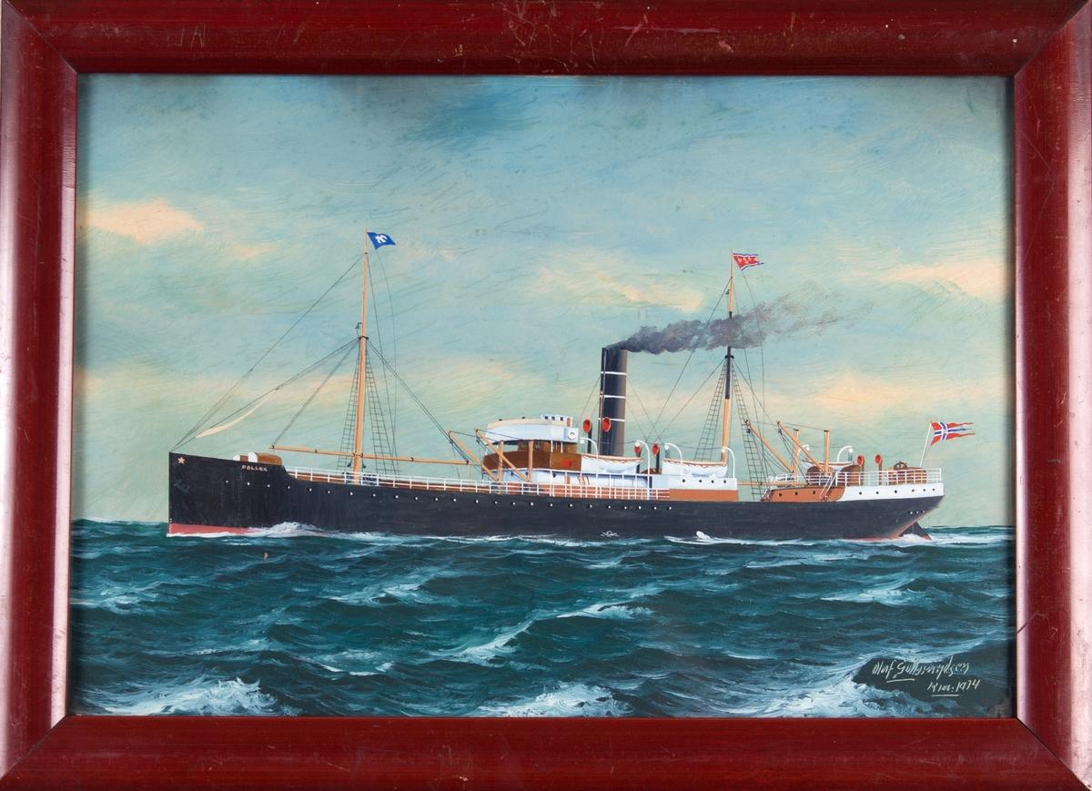 Skipsportrett av DS POLLUX under fart på åpent hav. Med norske flagg akter. Fører rederivimpel i bakre mast samt blå-hvit vimpel i formast.