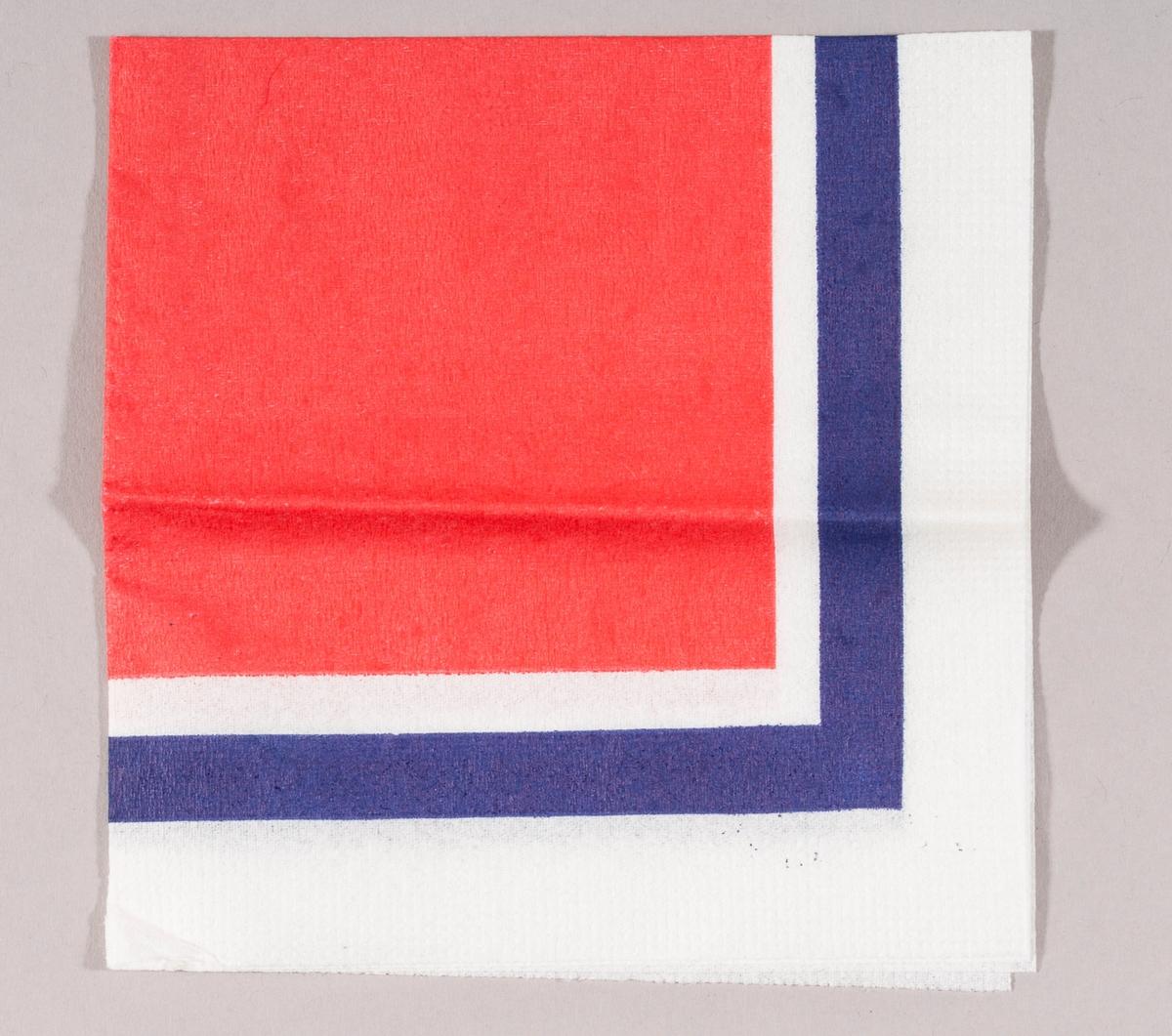 En rød firkant med en kant med blått og hvitt