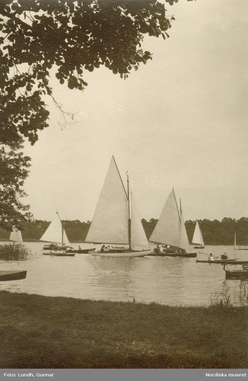 Tyskland. Segelbåtar på sjö.