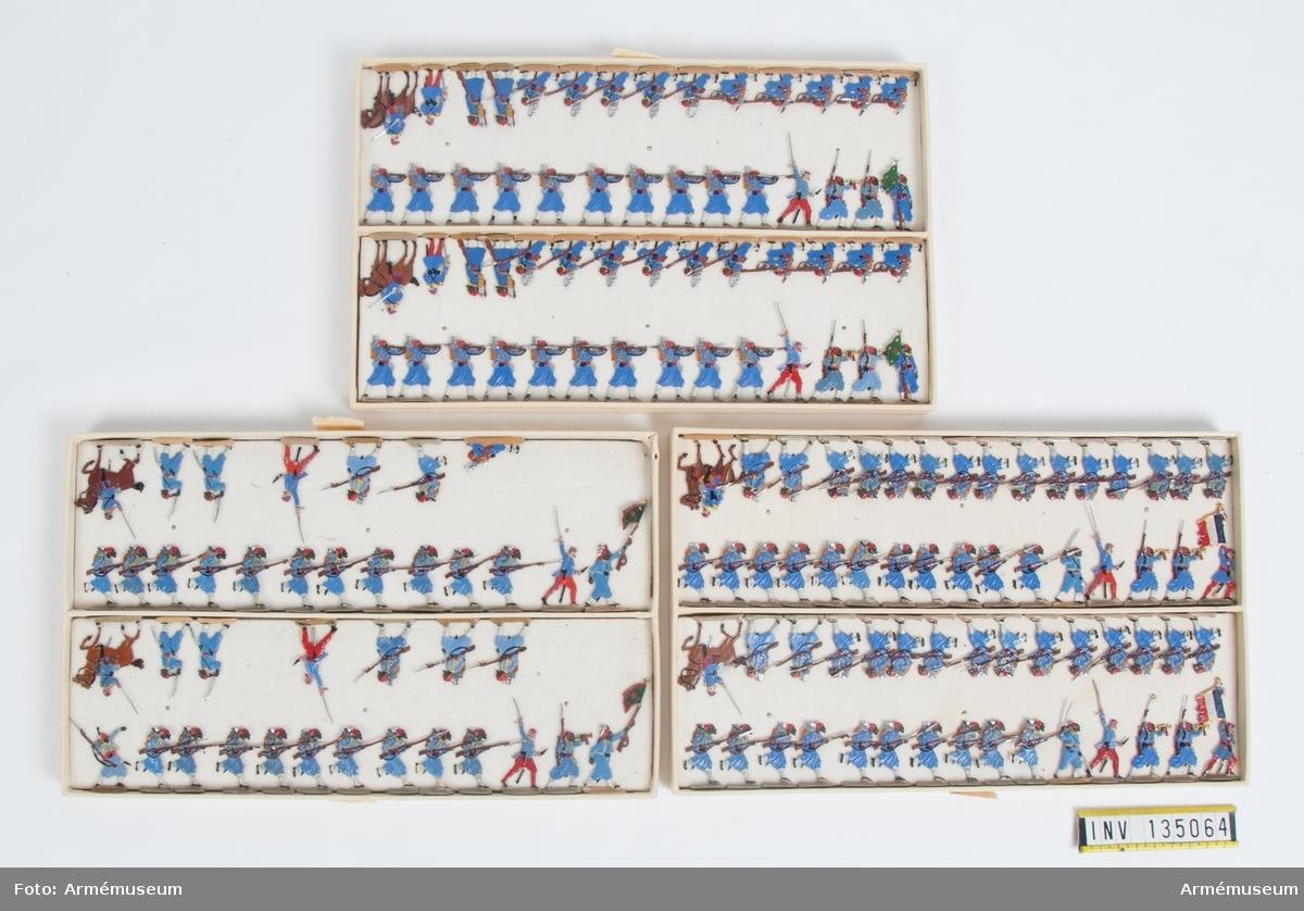 Infanteri från Frankrike från Fransk-tyska kriget. Tre lådor med figurer. Fabriksmålade.