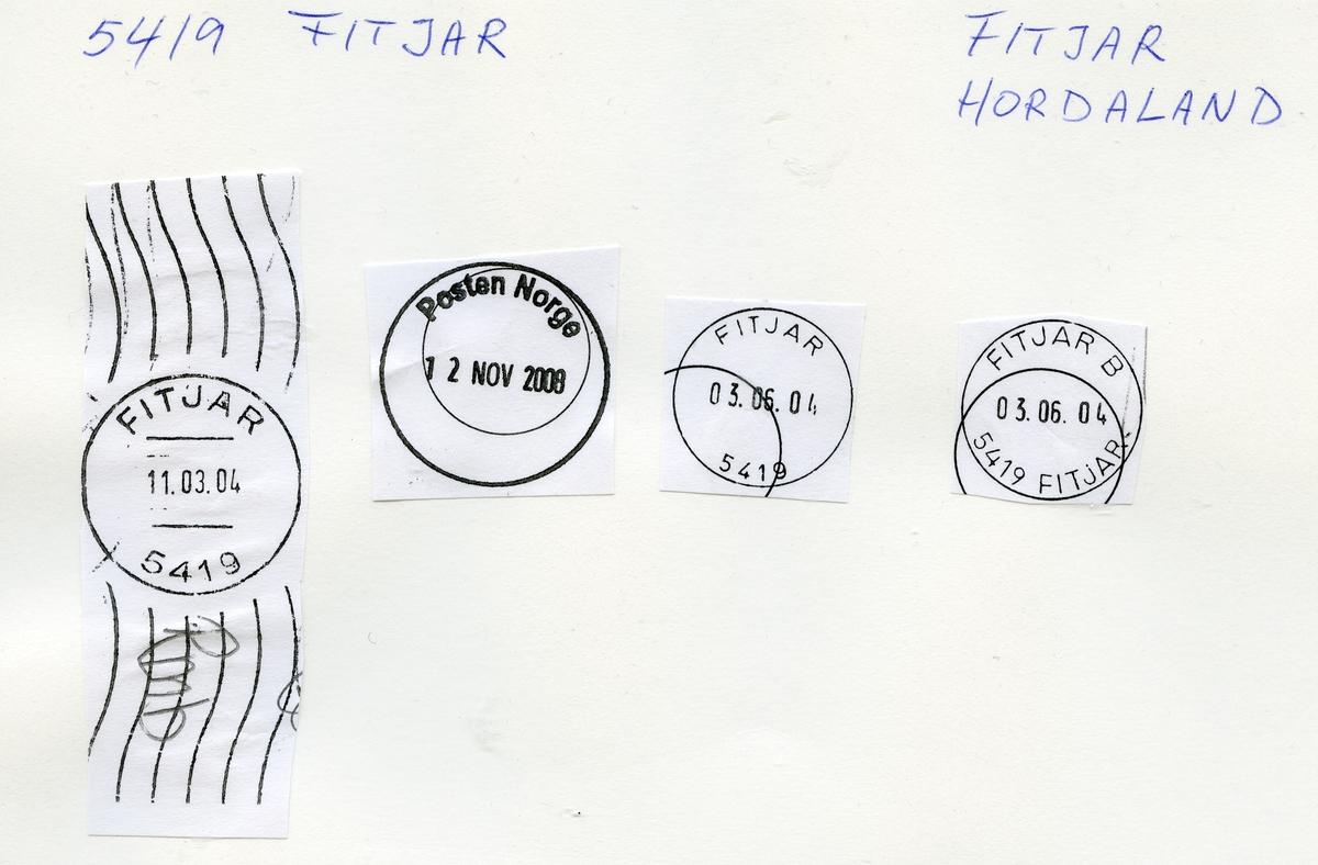 Stempelkatalog, 5419 Fitjar, (Fitje), Stord, Hordaland