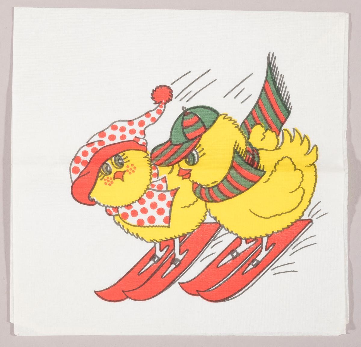 To påskekyllinger står på ski. Den ene kyllingen har lang prikket lue og halstørkle. Den andre kyllingen har caps og stripet halstørklede.