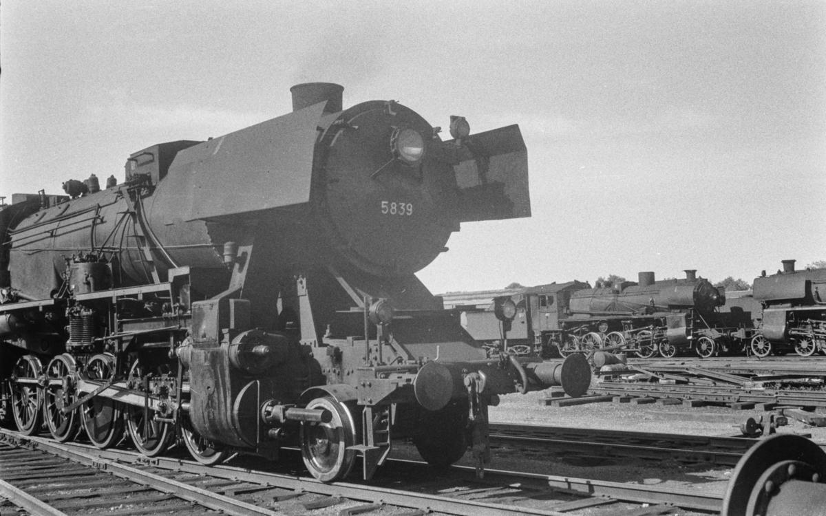 I forgrunnen damplokomotiv type 63a nr. 5839, i bakgrunnen lokomotiver type 26c.