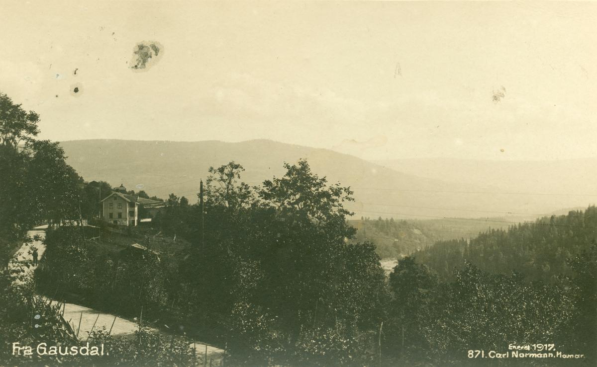 Postkort: Fra Gausdal - muligens ved Nordre Kalstad på vegen Forseth-Segalstad bru