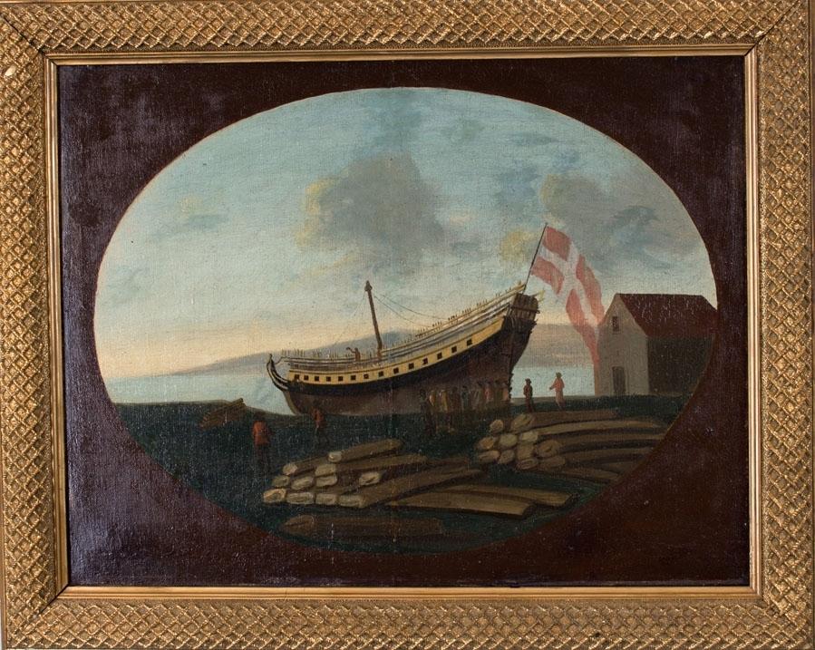 Skipsbilde av defensjonsfregatt ANNA MAGDALENAs stabelavløpning på Nordnespynten 13.8.1789. Fører det danske flagget.