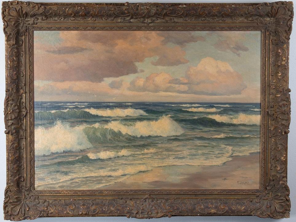Strand med hav og himmel