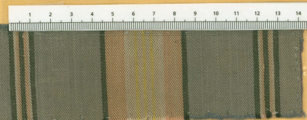 Anmärkningar: L; 48 B; 154 Vävprov av bomull i kypert, randigt i vitt, gult, rosa och svart på blå botten. Insamlad och skänkt av Olga Anderzon Västra Bergsgatan 8 Västerås.