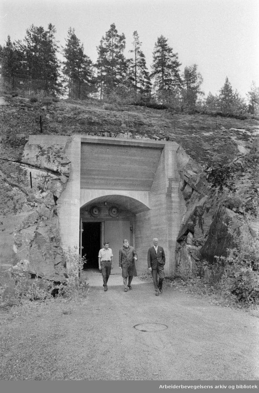 Oslo Sivilforsvars anlegg / Ljanskollen er bygget inne i fjellet. Juli 1967