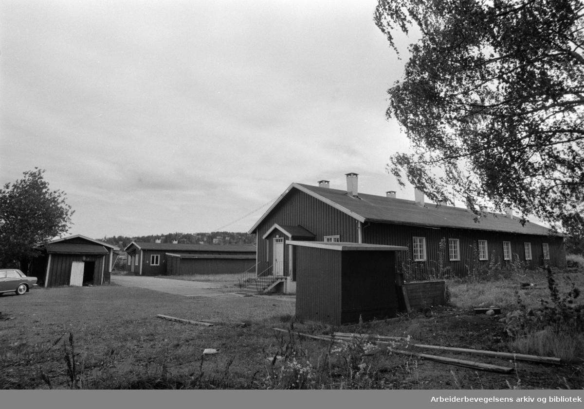 Ekeberg. Brakker må vike for garderobeplass. Oktober 1969