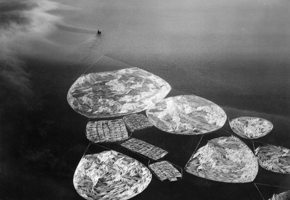 Tømmerslep på Randsfjorden i Oppland, fotografert fra fly i 1939.  Bildet viser en slepebåt som trakk en del ringbommer med løstømmer og mer rektangulære flåter av tømmerbunter over et stort vannspeil.  Det var muligens den ombygde passasjerbåten «Oscar II» som bukserte dette slepet over Randsfjorden.  Litt informasjon om hvordan tømmerfløtinga på Randsfjorden var organisert kan leses ut et dokument som er gjengitt under fanen «Opplysninger».