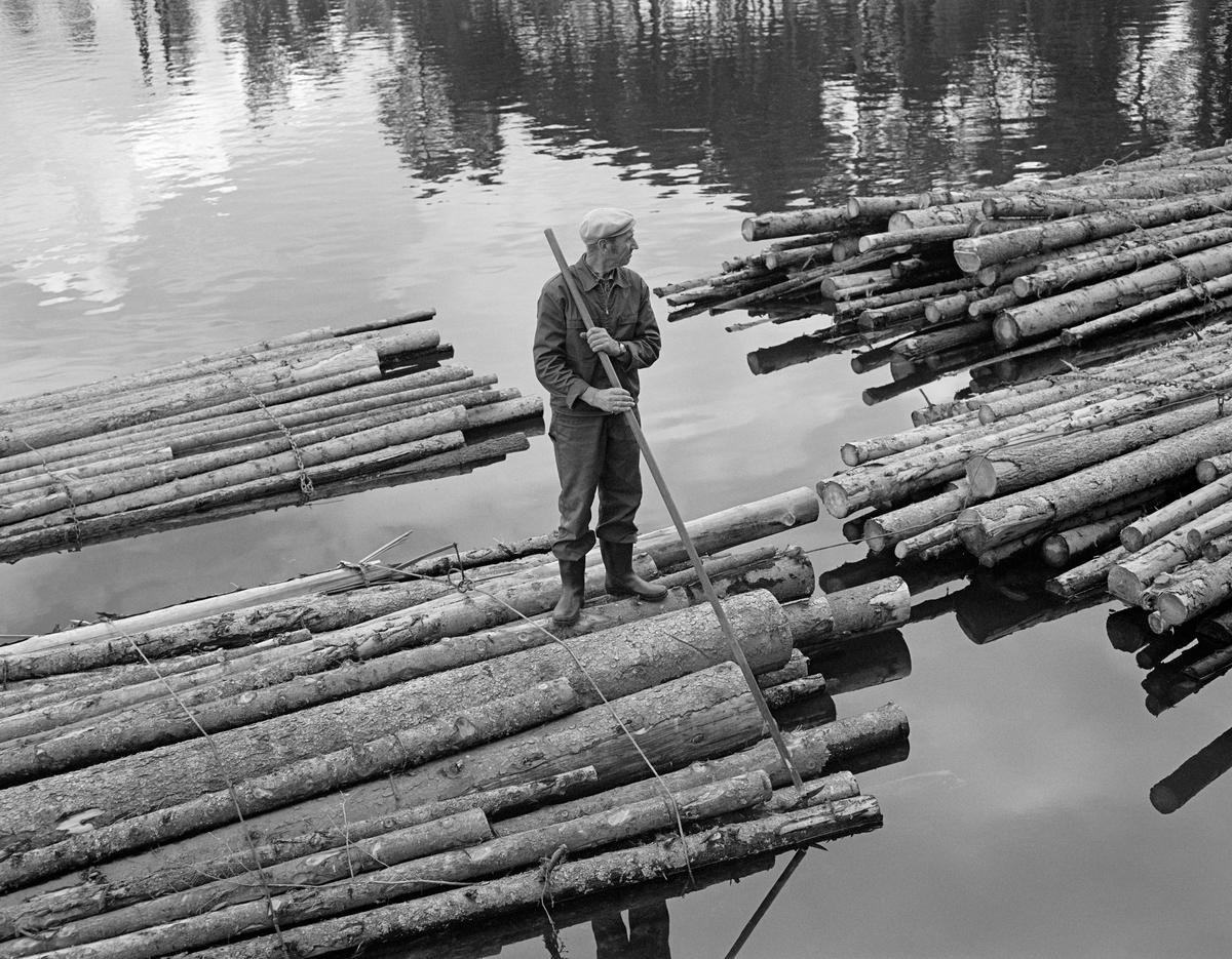 Tømmerfløteren Einar Melby (1915-2003), fotografert stående på tømmerbunt - «moser» - ved Ørje sluser, der han hadde sin arbeidsplass gjennom mange år.  Han holdt fløterhaken i hendene framfor seg, og hadde ansiktet vendt mot slusene nedenfor.  Mosene av ubarket massevirke, som var slått ut i vassdraget ved Skulerud litt lengre nord, skulle orienteres etter hverandre i korte lenker, såkalte «slusevendinger».  For å få dette til å bli stabilt dro Melby mosene inntil hverandre, ende mot ende.  Deretter trakk han et par stokker delvis ut av hver mose og delvis over i den tilstøtende, der de ble festet med kramper under et av vaierbindene som ble holdt mosen i hop.  Det første sluseanlegget ved Ørje ble bygd i perioden 1857-1860, og fra 1877 ble tømmer fra de øvre delene av vassdraget fløtet ned til industrien i Halden på et kanalisert vassdrag.  En kort historikk om fløtinga i Haldenvassdraget finnes under fanen «Opplysninger».