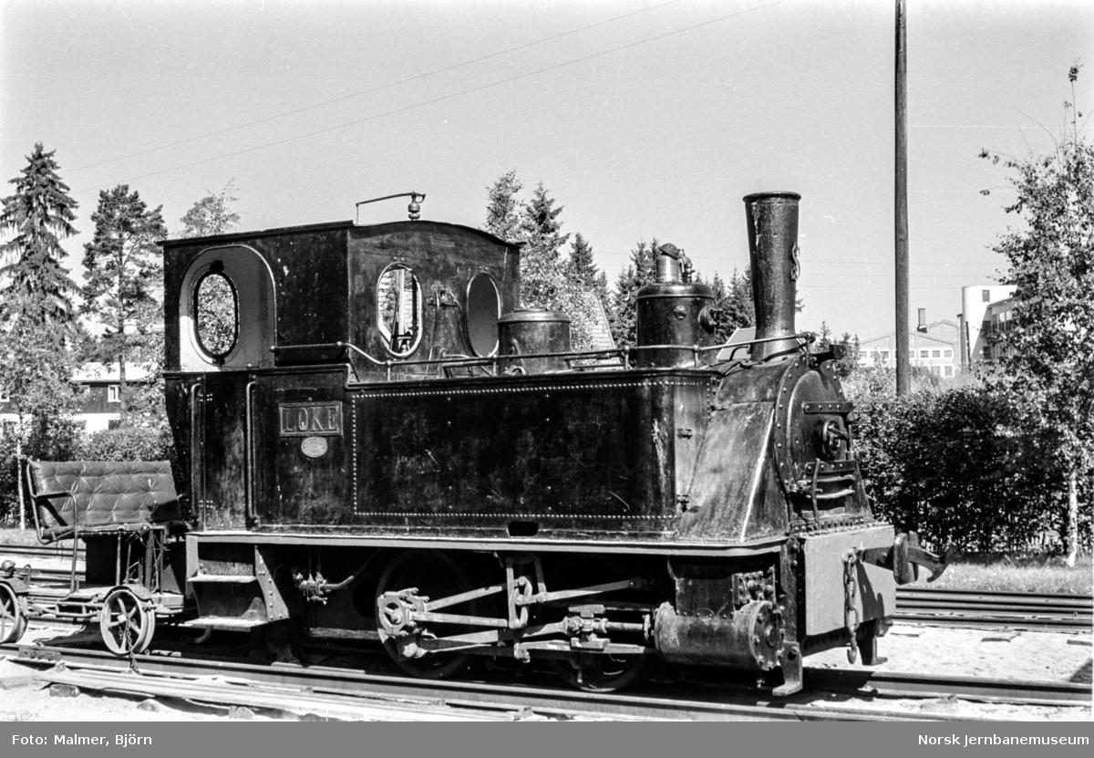 "Damplokomotiv ""LOKE"" fra Sulitjelmabanen på Jernbanemuseet."