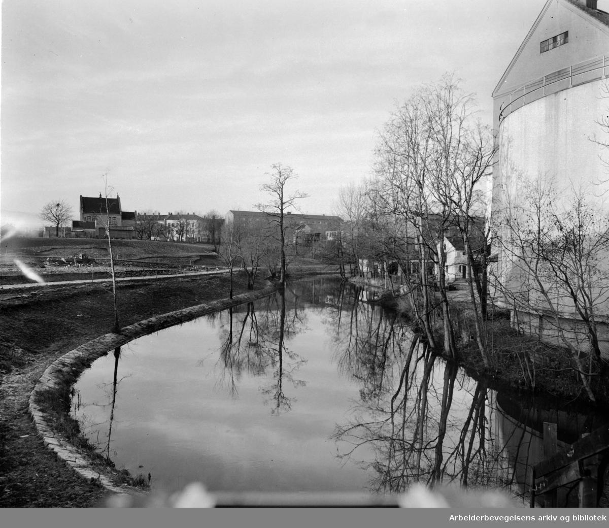 Akerselva ovenfor Treschows bru. April 1952