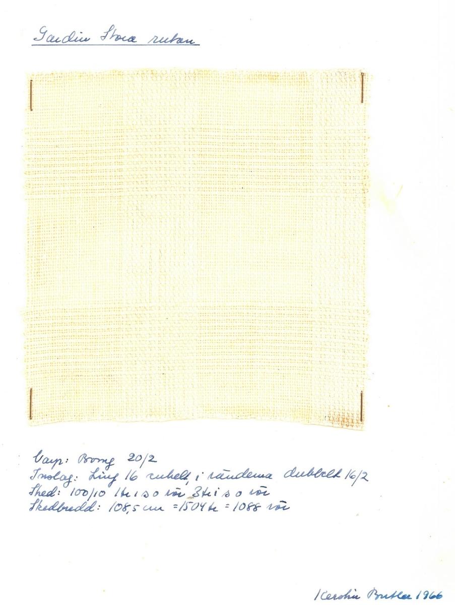 """Pärm med vävprover till gardiner. Gardin """"Stora rutan"""" Formgivare: Kerstin Butler 1961-1969"""