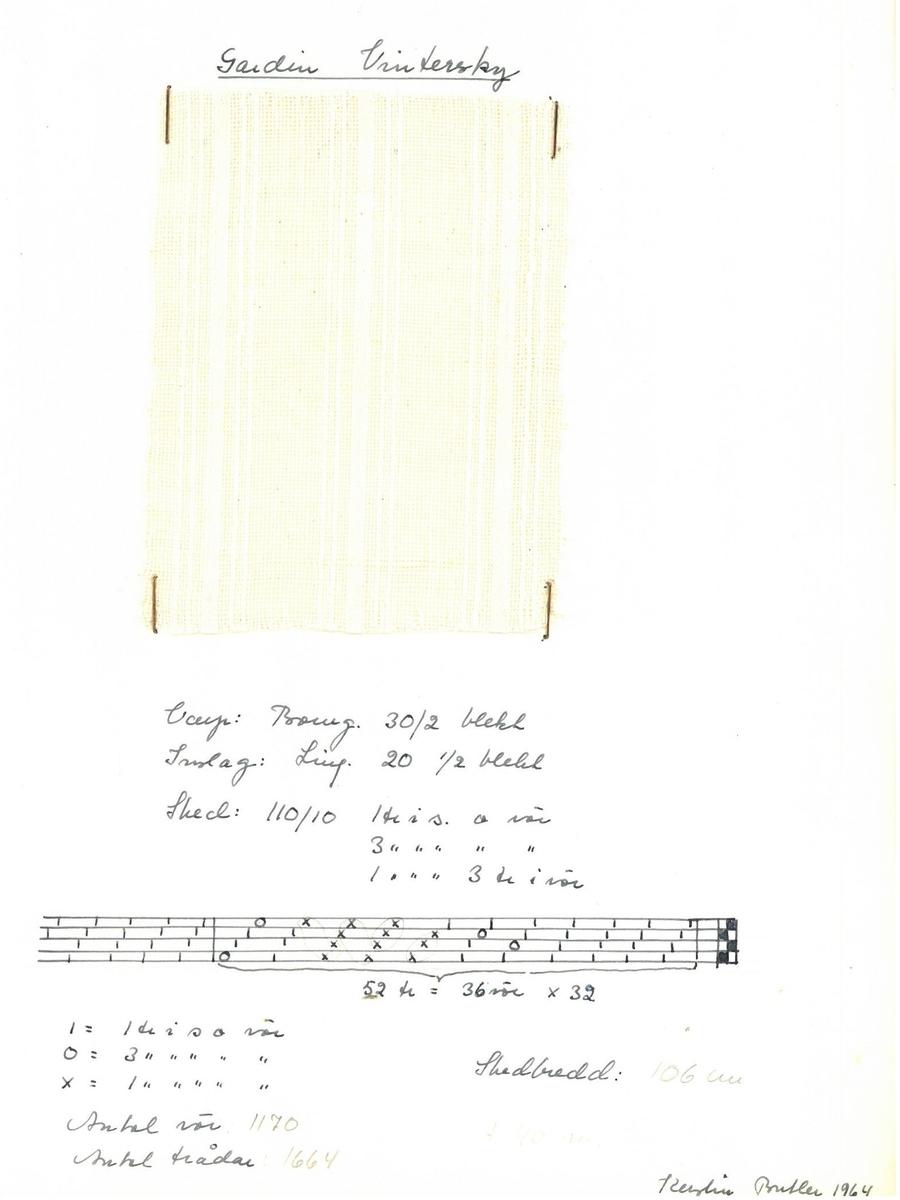"""Pärm med vävprover till gardiner. Gardin """"Vintersky"""" Formgivare: Kerstin Butler 1961-1969"""