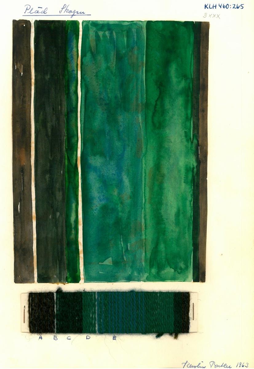 """Mönster, solvnotor och lindade randningar till halsdukar, plädar och sjalar. Kerstin Butler 1963 """"Pläd Skogen"""""""