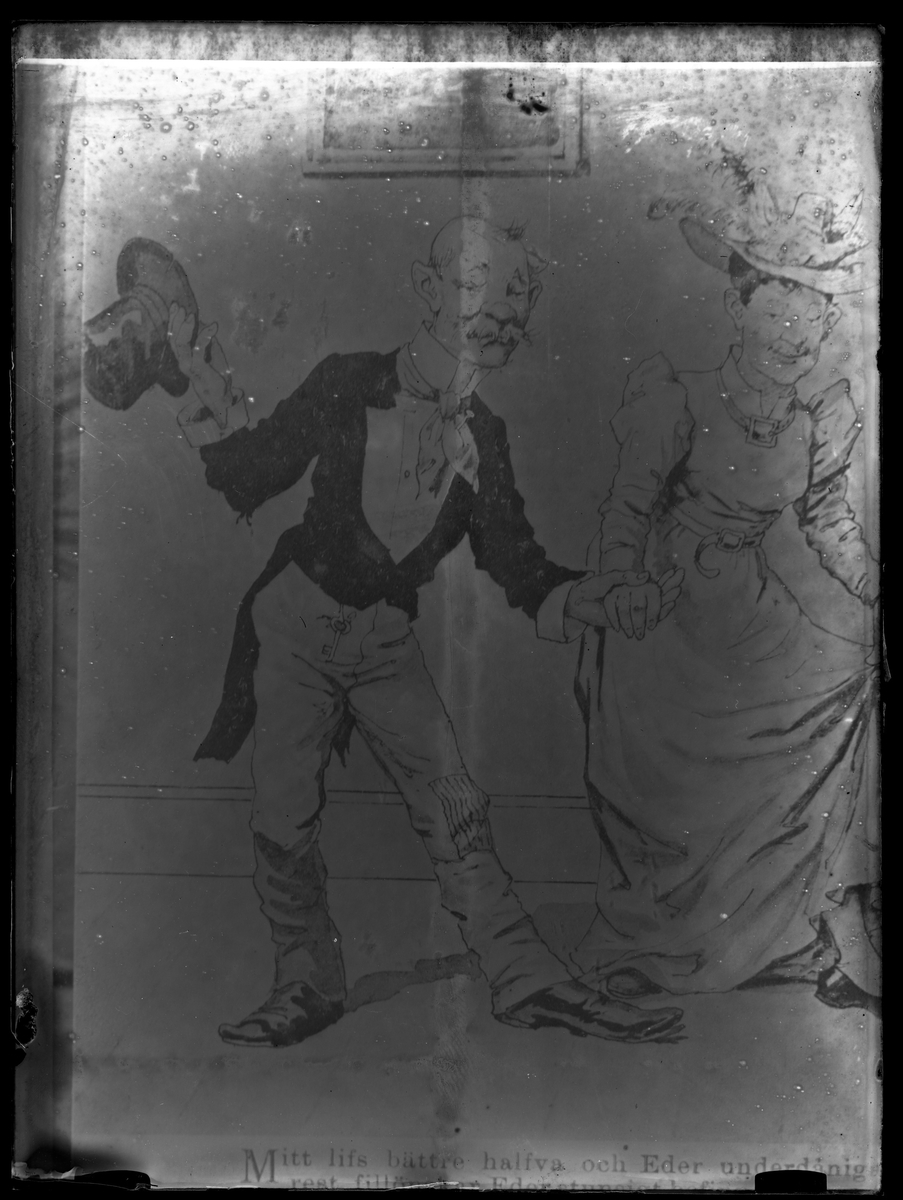 Reproduktions fotografi av brevkort med tecknat äldre par hand i hand. Mannen lyfter på hatten till hälsning medan kvinnan niger.