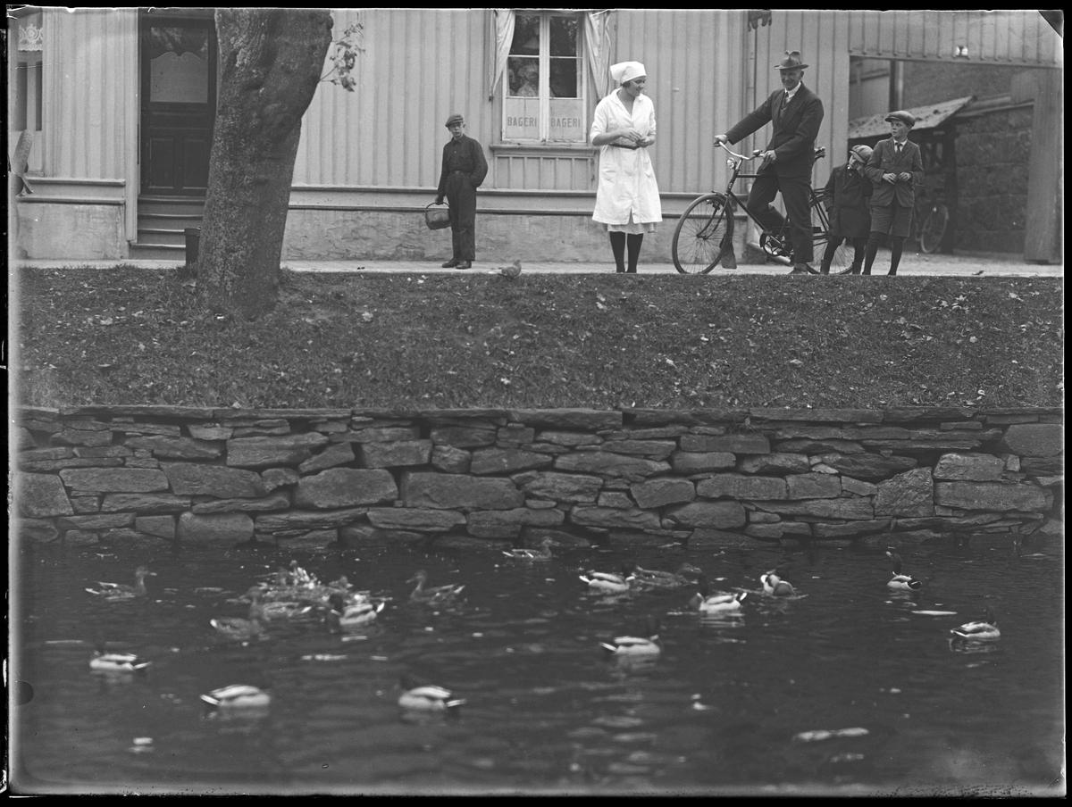 Fröken Jansson står vid åkanten och matar ände. Bredvid henne står en man med cykel samt två barn. Bakom henne står en pojke med en korg i handen.