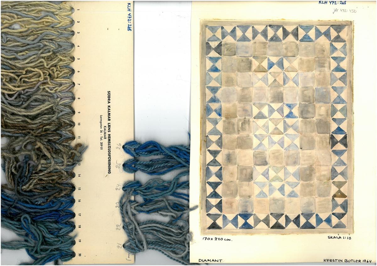 """Skiss till rölakansmattor Formgivare: Kerstin Butler 1964 Diamant"""" """"170x240cm"""""""
