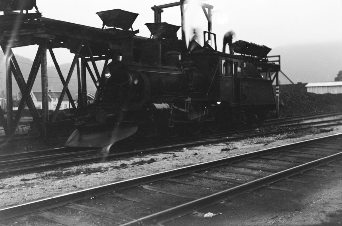 Damplokomotiv type 21b nr. 294 ved kullingsanlegget på Kongsberg stasjon.
