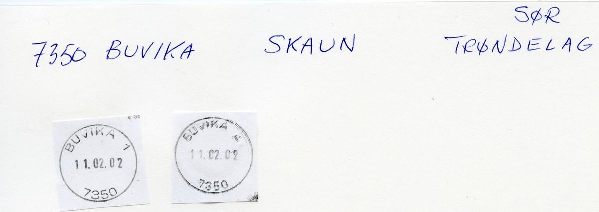 Stempelkatalog, 7350 Buvika. Trondheim postkontor. Skaun kommune. Sør-Trøndelag fylke.