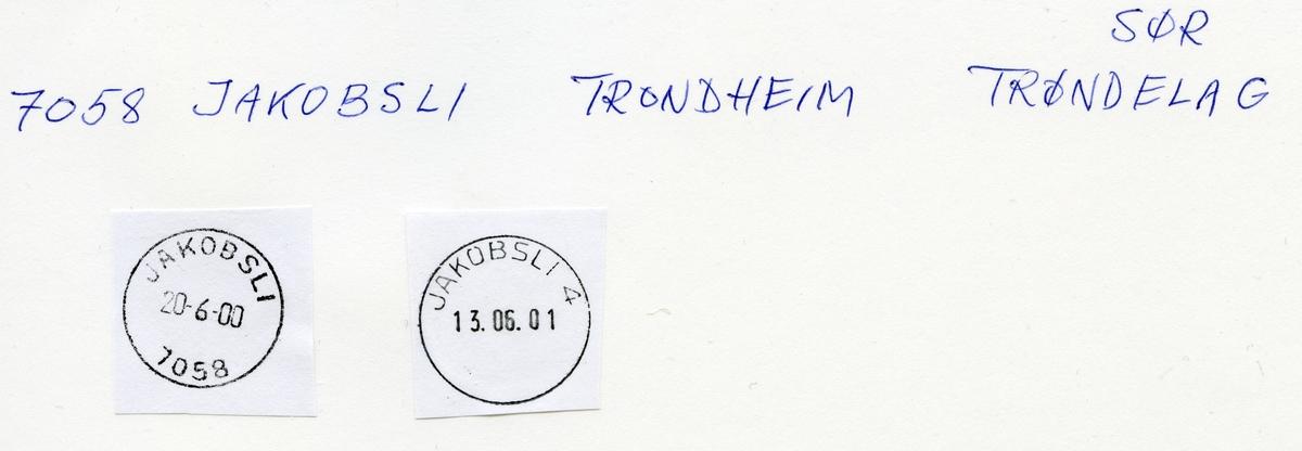 Stempelkatalog. 7058 Jakobsli, Trondheim postk., Trondheim kommune, Sør-Trøndelag