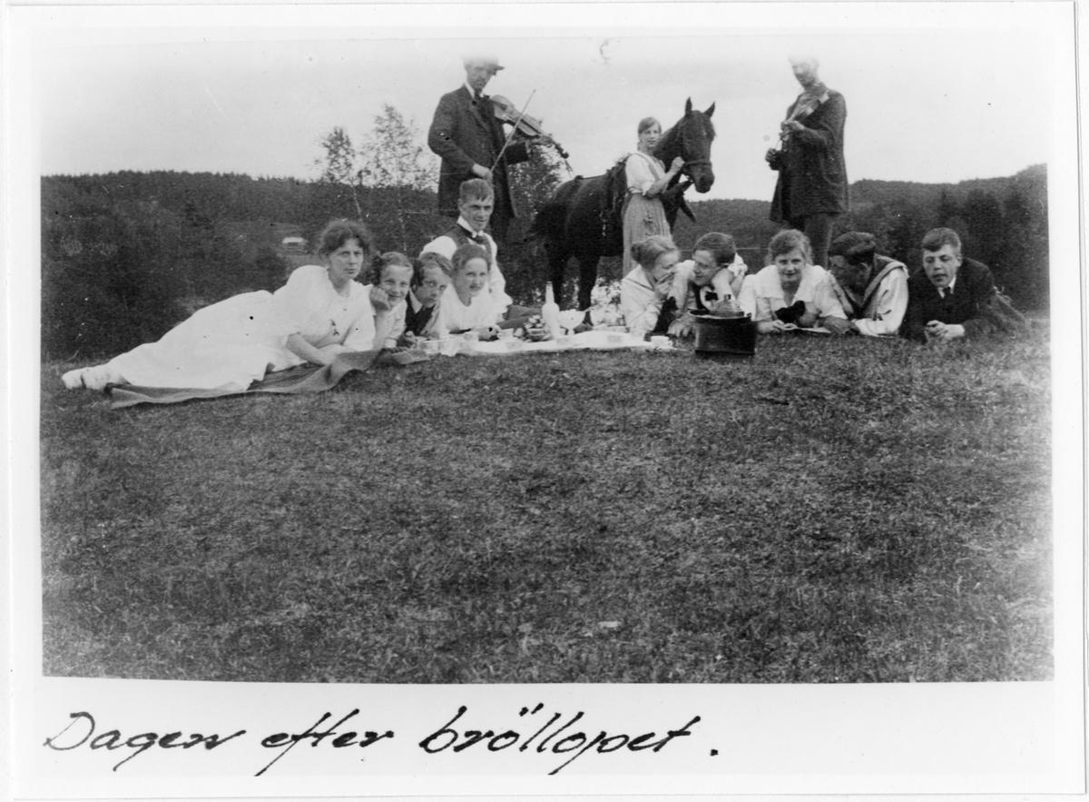 Ett tiotal personer från Nils och Elisabeth Hennnings bröllop fotograferade dagen efter festen.  Nils Henning och hans hustru Elisabeth född Ekholm (hon liggande som nr 4 från vänster), han sittande vid hennes sida. Spelmän från Ödenäs varav en troligen hette Olsson. Nils var lärare i Ödenäs från 1915 och familjen bodde i skolan.