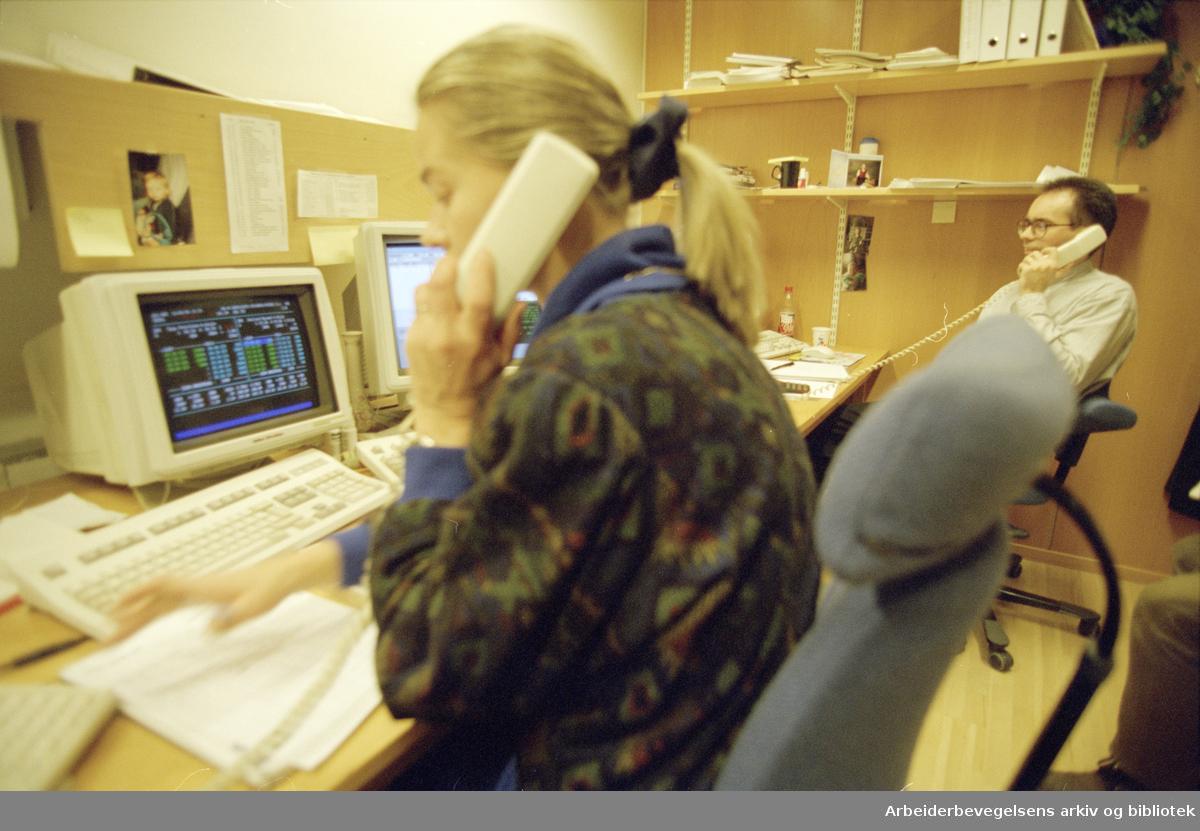 Børsen. Anne Kristin Ekeland og Bjørn Simonsen i SPN-Fonds. 11. januar 1996