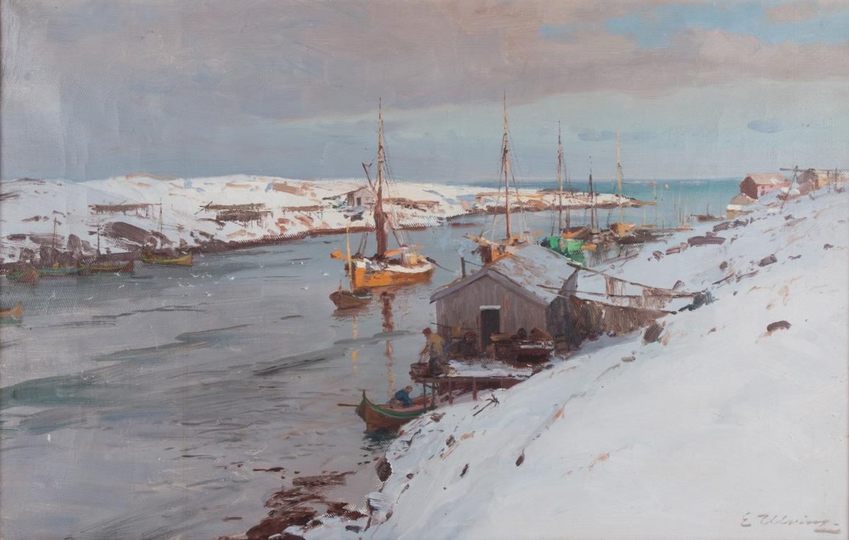 Fiskerhavn om vinteren