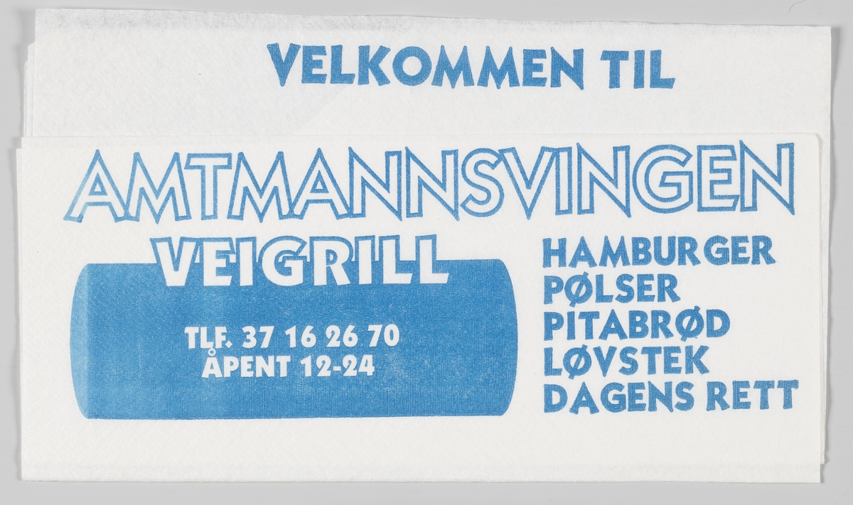 En reklametekst for Amtmannsvingen Veigrill i Tvedestrand.