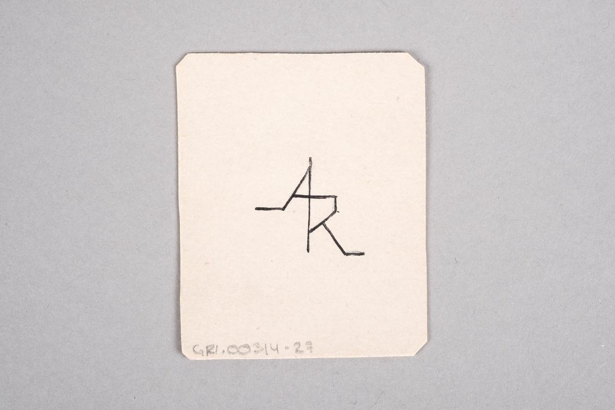 Tegning av en kvinne som holder et nøkleknippe. Motivet er speilet.