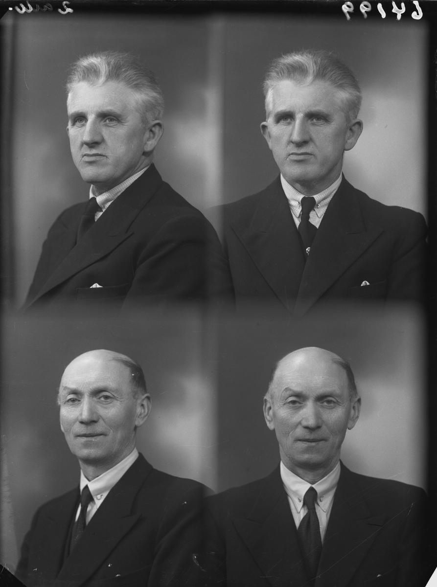 Portrett. To voksne menn, den nederste har lite hår. Begge ikledd mørk dress, hvit skjorte og mørkt slips. Bestilt av Hans Dyrdahl og Ole E. Olsen