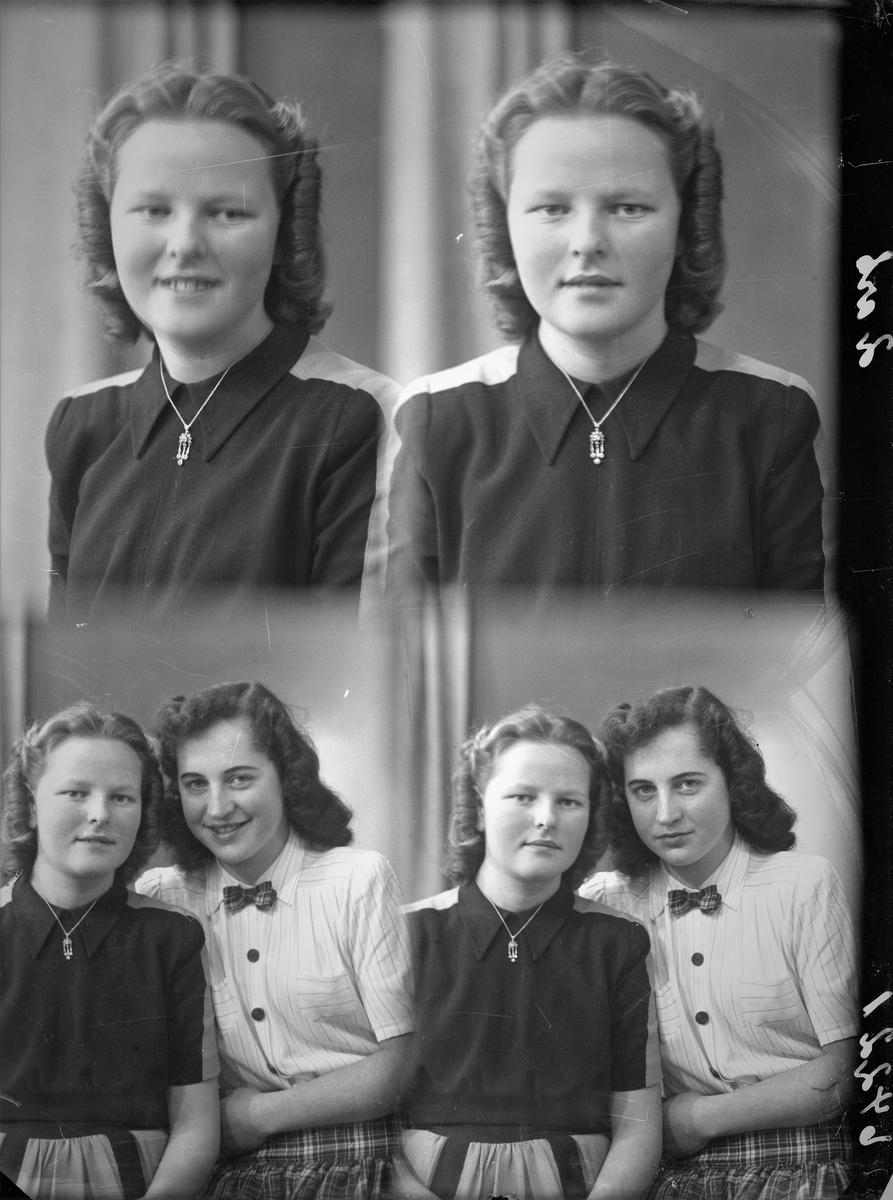 Portrett. To unge kvinner, den ene i mørk topp med lyst parti på skuldrene og stripet skjørt. Den andre har lys bluse, skotskrutet sløyfe og tilsvarende skjørt. Bestilt av Helen Johanesen. Kong Sulkesgt. 6