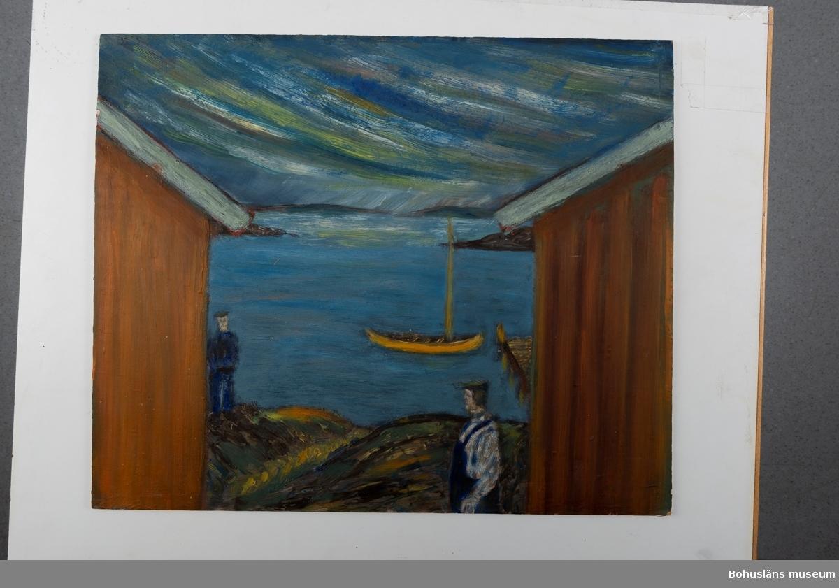 Motiv från Hälleviksstrand. Målning utförd på Nybloms pannå, Aktiebolaget Wilh. Becker, Stockholm. Övrig historik se UM70.37.001