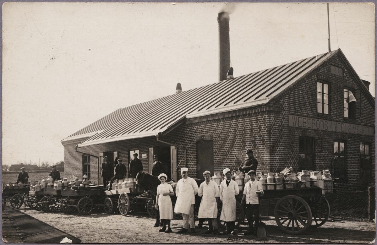 Personal samt ekipage med mjölkkannor uppställda utanför Weberöds Andelsmejeri.
