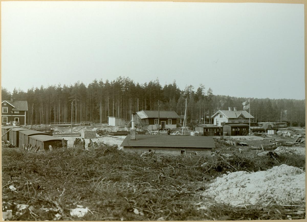 Riddarhyttan gamla station under ombyggnadsperioden.