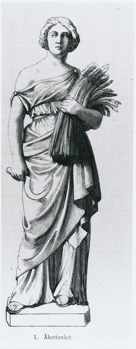 """Avbildning av statyn """"Åkerbruket"""" från Ny Illustrerad Tidning den 19/7 1873."""