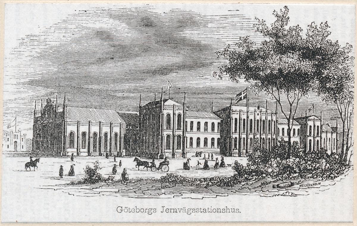 Göteborgs järnvägsstation. Litografi  år 1857