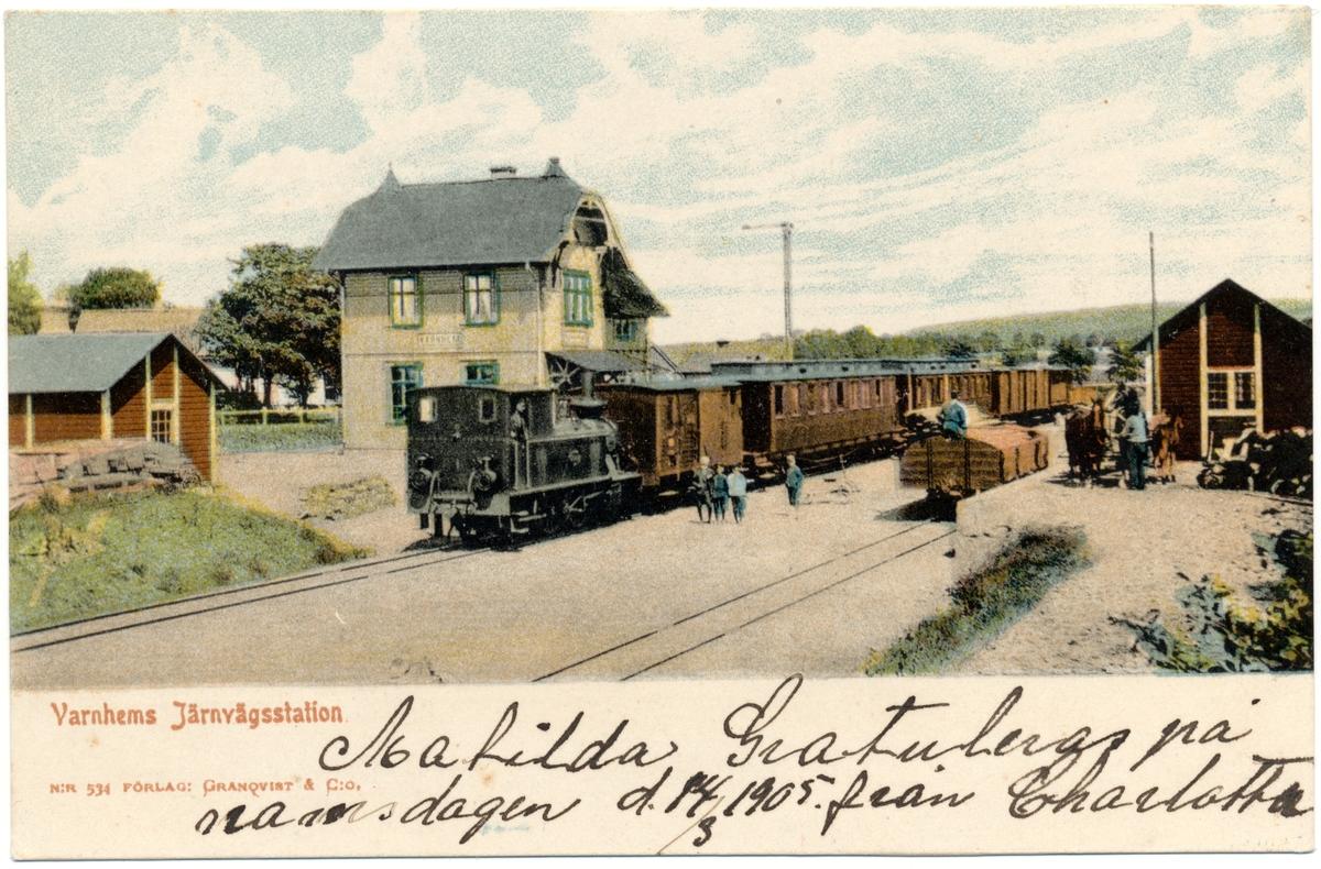 Skövde - Axvalls Järnväg, SAJ. Kolorerat vykort.